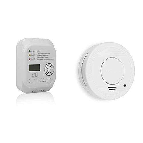 Smartwares RM370 Kohlenmonoxid CO Melder mit Display und Temperaturanzeige, Prüftaste + TÜV geprüfter Rauchmelder/Feuermelder, DIN EN 14604 Zertifiziert, RM250, 1er Pack