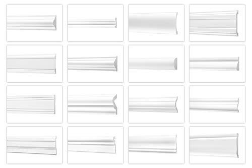 Listones de pared de Ecopolymer/HXPS – Listones de estuco blanco, ligeros y resistentes a los golpes – (CM42 – 12 x 30 mm) – Moldura de poliestireno para decoración de pared