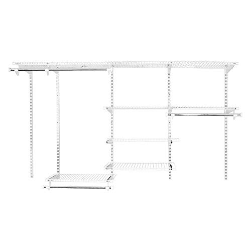 Rubbermaid 2062104 Fasttrack 4 to 8 Foot Wide Adjustable Wire Custom Closet Configuration Organizer Storage System Kit, White