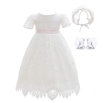 Xangirl Baby Girls Christening Baptism Dress White Lace Dress Party Wedding Special Occasions Gown Outfit for Toddler 12-18 Months