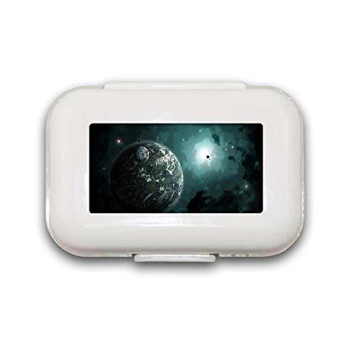 Green Lights in Space Pill Box Pill Case Pill Organizer Decoratieve Dozen Pill Box voor Pocket of Purse - 8 Compartiment Pill Box/Pill case