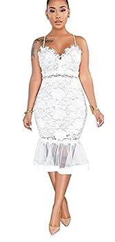 Salimdy Womens Elegant Sequin Tassel Sleeve Bodycon Cocktail Party Midi Dress White
