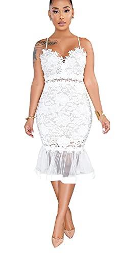 Women Sexy Floral Lace Dress Mesh Sheer Deep V Neck Spaghetti Strap Prom Gowns Bodycon Mermaid Midi Dress White