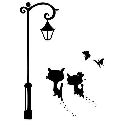 Pegatina de pared para lámpara de calle de gato, extraíble y linda decoración de mascotas, para dormitorio, sala de juegos, sala de estar, oficina, ventana de casa, decoración de puerta