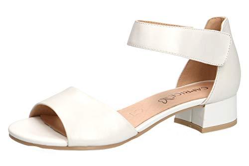 CAPRICE 28212-22 Damen Sandaletten,Sommerschuh,Riemen,elegant,feminin,Leichter Absatz,(139) White Perlato,37.5 EU / 4.5 UK