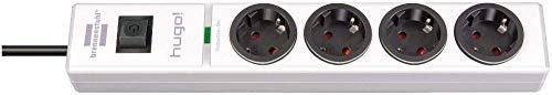 Brennenstuhl hugo regleta enchufes con 4 tomas y protección sobretensiones hasta 19.500A (cable de 2m de largo, interruptor, protección antirayos, montable) blanco