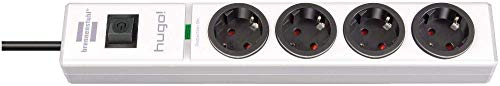 Brennenstuhl hugo! regleta enchufes con 4 tomas y protección sobretensiones hasta 19.500A (cable de 2m de largo, interruptor, protección antirayos, montable) blanco