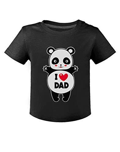 Green Turtle Fête des Pères - Panda I Love U Dad T-Shirt Bébé Unisex 12M Noir