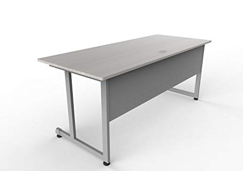 "Linea Italia Executive Training Extra Large Easy to Assemble Metal Desk with Wood Top | Computer Table for Home or Office, 72"" x 30"", Ash"