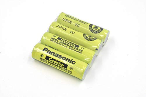 Combo: 4 Pcs - Panasonic/Sanyo NiCd AA Battery (no tabs) Button TOP - N-700 AAC - for Solar, shavers, Razors, etc