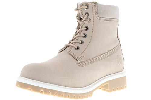 Klondike Damen Winterstiefel Stiefeletten Boots Echtleder Warmfutter grau, Größe:37, Farbe:Grau