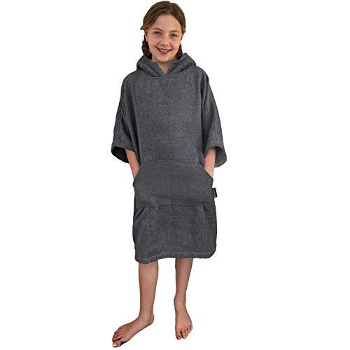 HOMELEVEL Kinder Surfponcho 100% Baumwolle Strandponcho Poncho Badeponcho Strandtuch Handtuch Cape Bademantel Frottee Badetuch mit Kapuze Dunkelgrau 10-13 Jahre