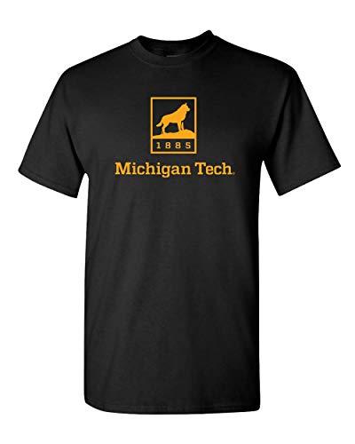 CreateMyTee | Michigan Tech Huskies 1885 One Color T-Shirt | (Black, Large)