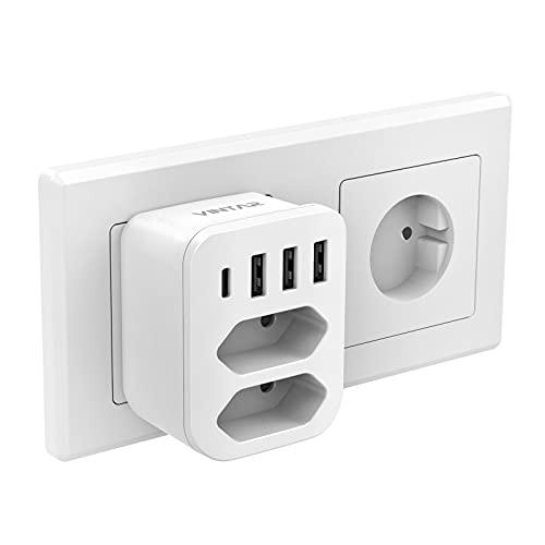 VINTAR USB Steckdose, Mehrfachstecker (4000W) mit 3 USB Ladegerät und 1 Typ-C Port (3.4A), 6-in-1 Steckdosenadapter, Steckdose mit USB, Mehrfachsteckdose USB mit Kindersicherung
