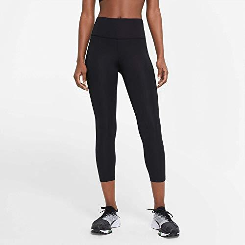 NIKE Pantalones DF Fast Crop para Mujer Negro y Plateado XS
