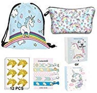 Unicorn Gift Bag Pack, 5 Pack, Contains 1 Unicorn Drawstring Backpack, 1 Unicorn Makeup Bag,12 Unicorn Stickers,6 Hair Tie...