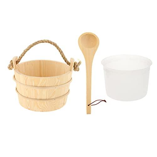 Fenteer Kit de cubo y cucharón de madera para sauna, accesorios de sauna con revestimiento para sauna y spa hechos de madera de pino finlandesa de primera