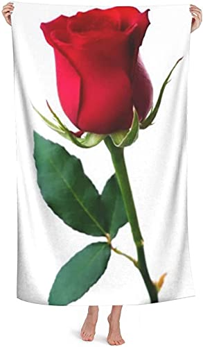 LUYIQ Beach Towels,Microfibre Beach Towels Large,Red Rose Psd,52x32 Inches,Sand Free,Quick Dry,Lightweight Beach Towels for Sports,Swimming,Yoga,Gym,Travel,Camping