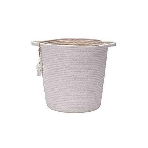 11.81x10.23x6.23 inch, Medium, Off White Set of 2 Orino Cotton Rope Storage Baskets With Handles Soft Durable Laundry Baskets Toy Storage Nursery Bins Home Decorations Blanket basket
