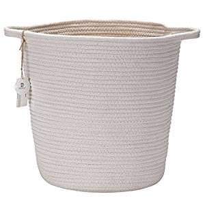 Sea Team 13.8'H x 10.2'D Natural Cotton Thread Woven Rope Storage Basket Bin Hamper with Handles for Nursery Kid's Room Storage (Tall, White)