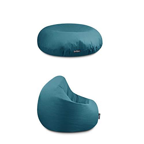 BuBiBag Sitzkissen & Sitzsack für Kinder & Erwachsene 32 Farben & 3 Größen wählbar Indoor Outdoor Kissen Wasser- & Schmutzabweisend Material Bodenkissen (Petrol-Erwachsene XXL)