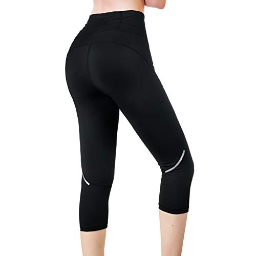 Rolewpy Yoga Capri Workout Leggings for Women High Waist Tummy Control, Running Pants with Pocket for Summer Activewear(Black, XX-Large)