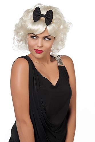 Karneval-Klamotten Marilyn Monroe Perücke blond Locken lockig kurz mit Scheife Damen-Perücke