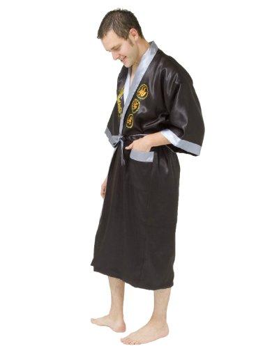 Kimono en satin avec dragon brodé - taille: SM - couleur: noir / argent