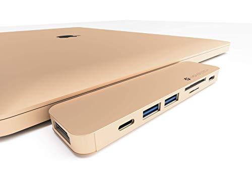 NOV8Tech Adaptador Delgado USB C a HDMI 7-en-2 para MacBook Air 2020 M1 2019/2018 Dorada, Estacion de Acoplamiento, Lector UHS II SD/Micro SD, Thunderbolt 3 100W, USB C Data, 2X USB 3.0