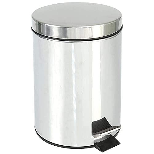 Amig - Cubo de Acero Inoxidable con Pedal - 5 litros   Cubo de Basura o Papelera con Recipiente Interior extraíble de plástico con Asa   Higiénico y Fácil de Limpiar   Tratamiento Antihuellas