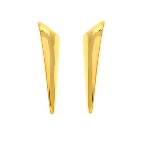 behave® Mujer Pendientes Largos en Forma de triángulo con Tachuelas Hecho de Metal Base - Color Dorado - 3cm tamaño