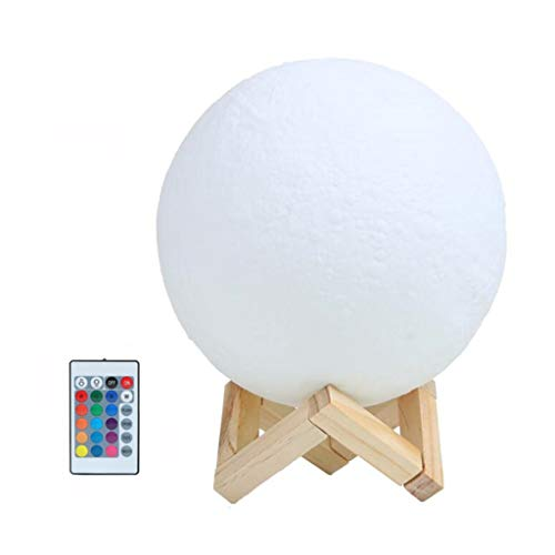 QFFL Moon lamp Moon Lamp Rechargeable 3D Printing Moon Light 16 Colors Lunar Night Lights Remote Control & Pat & Touch Control with Stand for Kids and Women Gifts (Color : 16 COLOR)