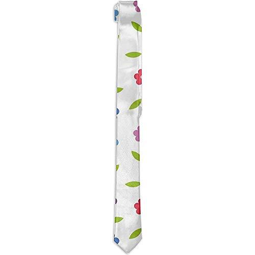 Corbata floral estampada para hombres, margaritas de colores vibrantes Hojas Primavera Naturaleza Prado Doodle Niños Niñas Sala de juegos, Corbatas para hombres