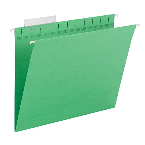 Smead TUFF Hanging File Folder with Easy Slide Tab, 1/3-Cut Sliding Tab, Letter Size, Green, 18 per Box (64042, Rod Color May Vary)