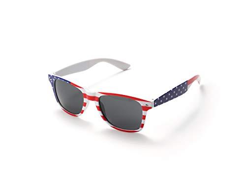 Komonee USA Flagge Weiß Drifter Stil Sonnenbrille UV400 Schutz Unisex