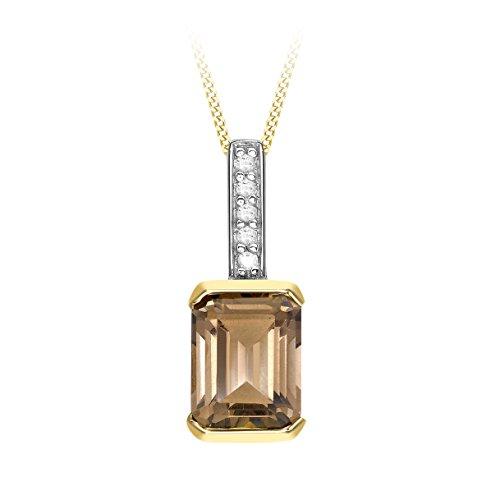 Carissima Gouden hanger aan ketting 9 karaat geelgoud 0.02 karaat diamant en rookkwarts 46 cm / 18 cm inch 1.43.7874