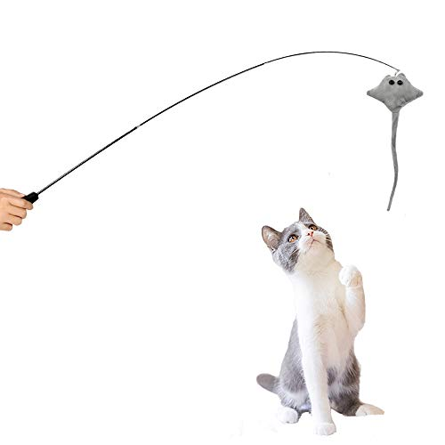 ASENVER Retractable Cat Wand Toy Cat Plush Teaser Wand with Bell Interactive Telescopic Cat Fishing Pole Toy (Grey Manta Ray)