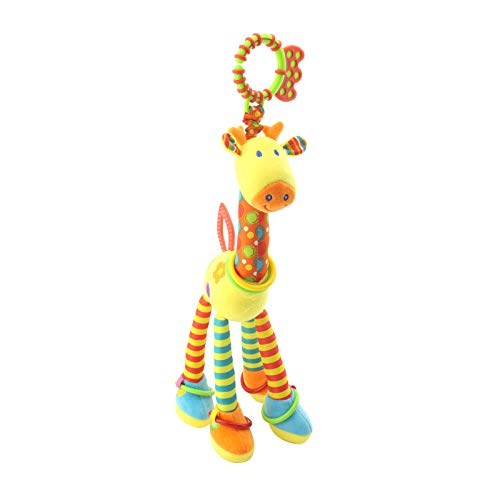 TTAototech Cuna móvil para guardar y jugar, bebé móvil para cuna con luces y música jirafa colgante sonajero juguetes remoto con juguete, brazo (cuello amarillo/cuello azul)