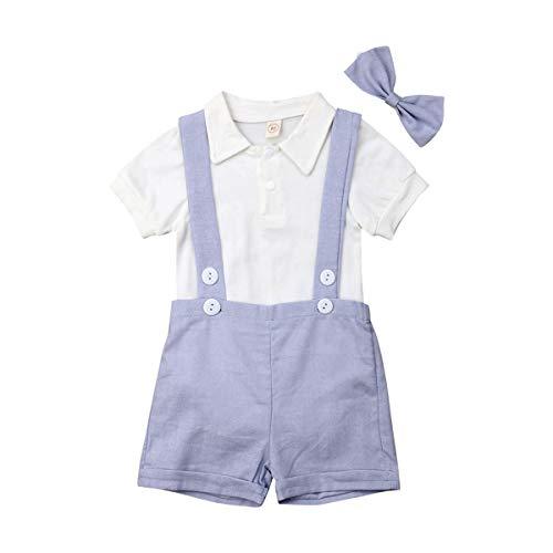YQYJA Baby Kleidung Sets Sommer Gentleman Anzug Solide Kurzarm Polo Strampler Hosenträger Fliege 3 Stück Outfits (Hellblau, 12-18 Monate)