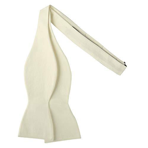 Jacob Alexander Men's Self Tie Freestyle Solid Color Bowtie - Cream