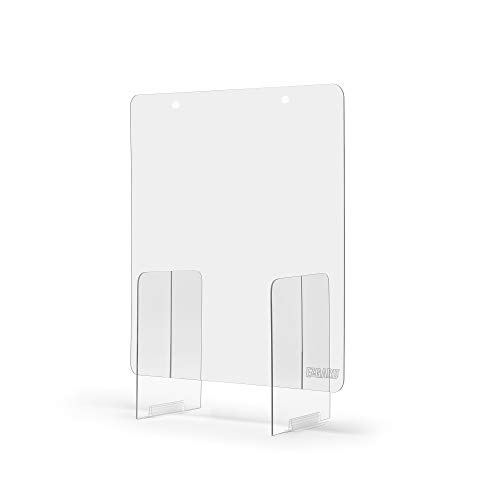 Portable Lightweight Sneeze and Cough Protective Plexiglass Shield Guard for Counters | (24' x 36' x 12') Clear Acrylic | Sales Counter/Reception Protection Barrier for Employers, Workers & Customers