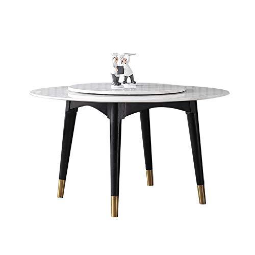 Z-GJM Ronde eettafel van Chinees marmer, modern, eenvoudige ronde eettafel, ronde tafel van massief hout met draaischijf voor 6 personen, de tafelpoten zijn sterk en solide, de tafel