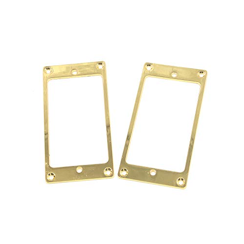 Geesatis Gold 2 PCS Humbucker Pickup Ring Cover Frame Flat Pickup Mounting Rings for LP/SG Guitar Mounting Replacement Electric Guitar Accessories