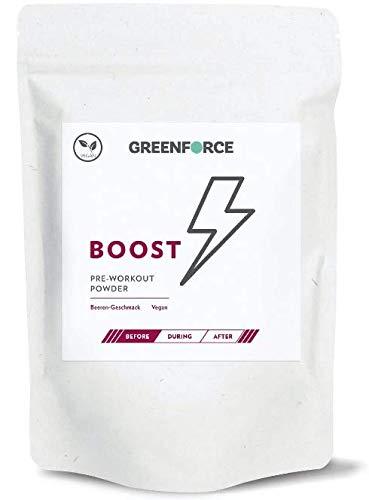 GREENFORCE BOOST – Pre Workout Booster Powder I 100% VEGAN, für das Pre-Workout mit wenig Zucker I 20 Portionen à 22,5g I Koffein, Taurin und Cholin I Natürlicher Booster, Beerengeschmack 450g