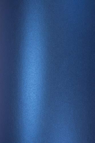 Netuno 10 Blatt Perlmutt-Blau Bastelkarton DIN A5 210×148mm 250g Majestic Satin Blue Perlglanz-Karton Metallic-Effekt Glanz-Karton hohe Qualität für Hochzeit Geburtstag Taufe Weihnachten Jubiläum