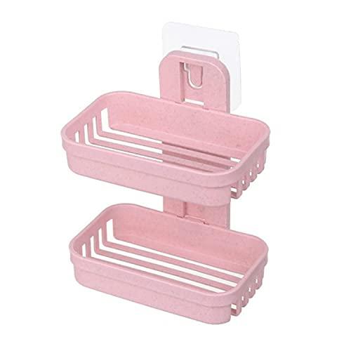 Paquete de 4 jaboneras para jabón montado en la pared, sin perforaciones, fácil de limpiar, para baño, cocina, fregadero y bañera