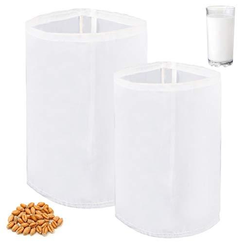 Kuou, 2 sacchetti riutilizzabili a rete fine in nylon per birra, vino, marmellata, frutta, latte e yogurt