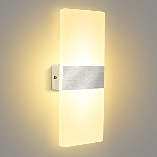 Aplique Pared Interior, Lovebay 12W Moderna Apliques de Pared LED Blanco Cálido 3000K para Corredor, Dormitorio, Escalera, Lámpara de Decoración