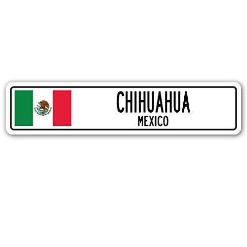 Lustiges Schild / Wandschild als Geschenk Chihuahua, Mexiko, Straßenschild, mexikanische Flagge, Stadt, Landstraße, auch für den Außenbereich geeignet, aus Aluminium