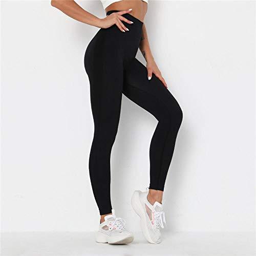 Pantalon De Fitness Femme sans Couture Leggings Taille Haute Pantalon Yuga Séchage Rapide Respirant Leggings De Sport Gym Workout Running L Noir
